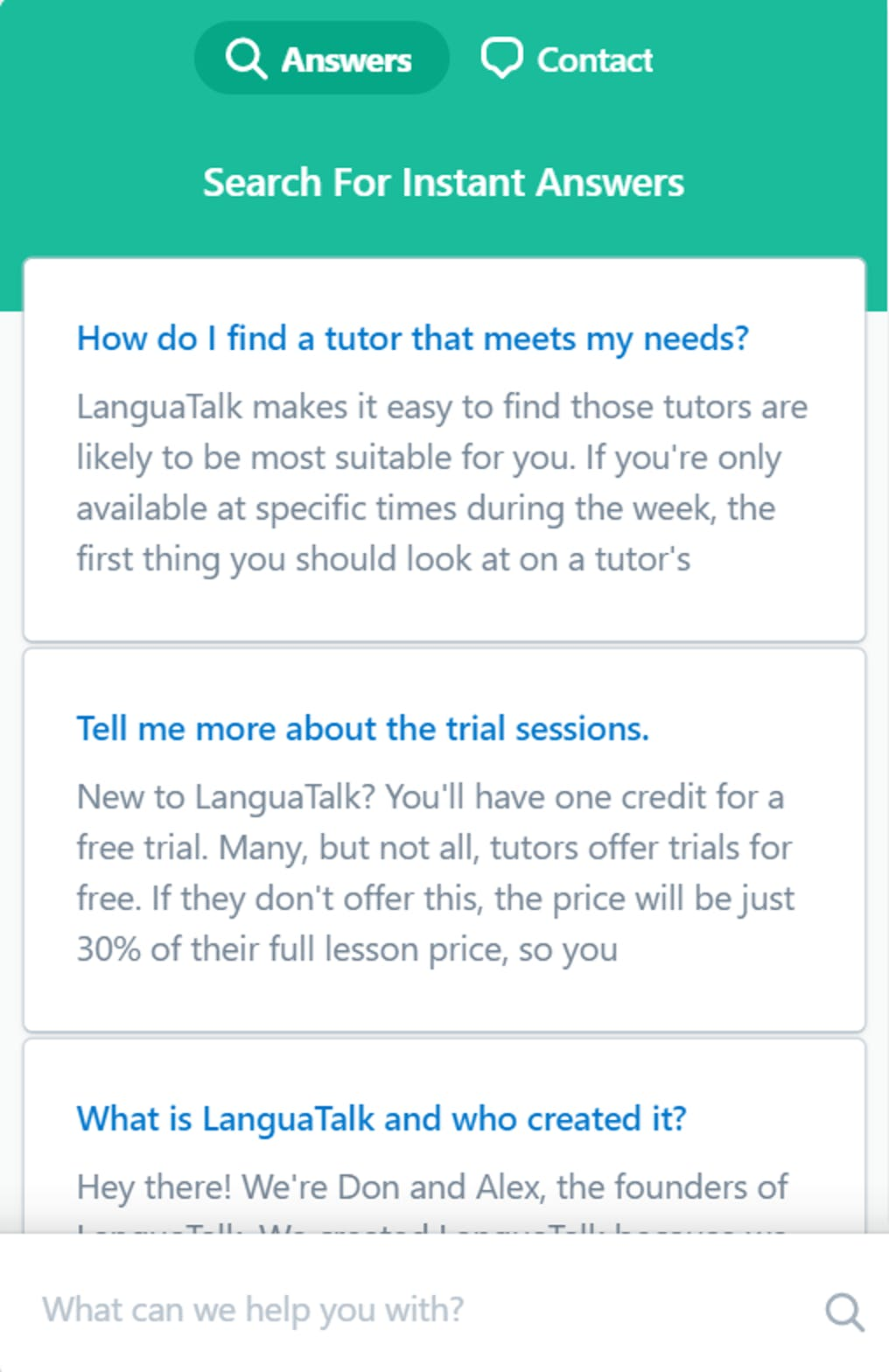 languatalk beacon with customized article recommendations