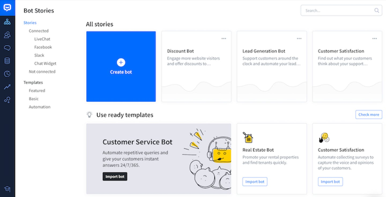 screenshot of livechat's dashboard