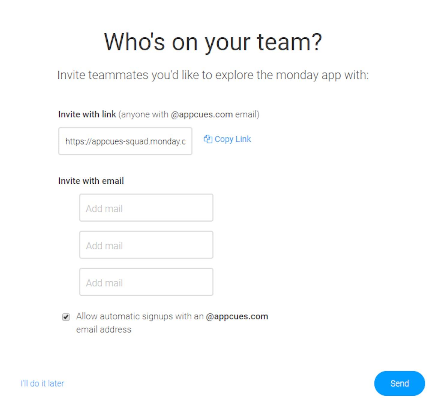 monday.com's user invite