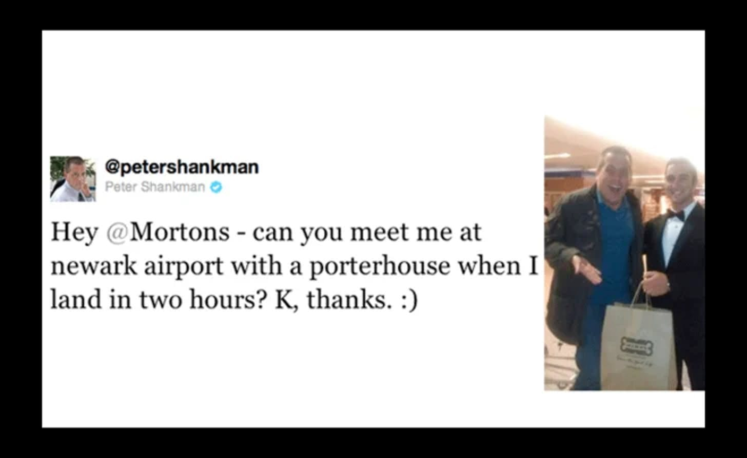 A Mortons customer tweets: Hey Mortons - can you meet me at Newark airport with a proterhouse when I land in two hours? K thanks.