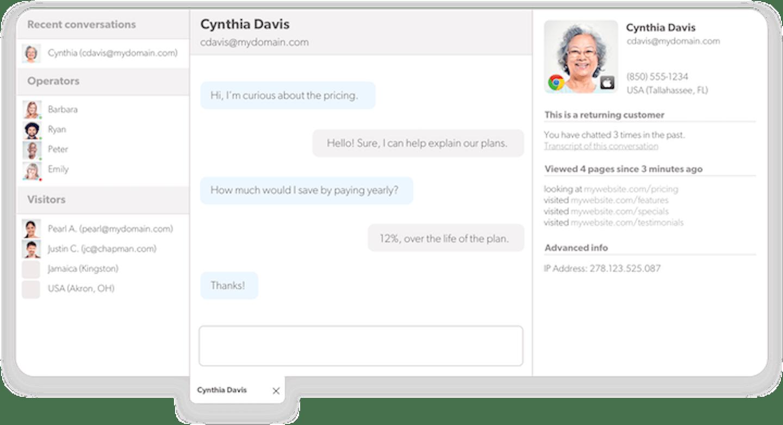 screenshot of olark's customer service software