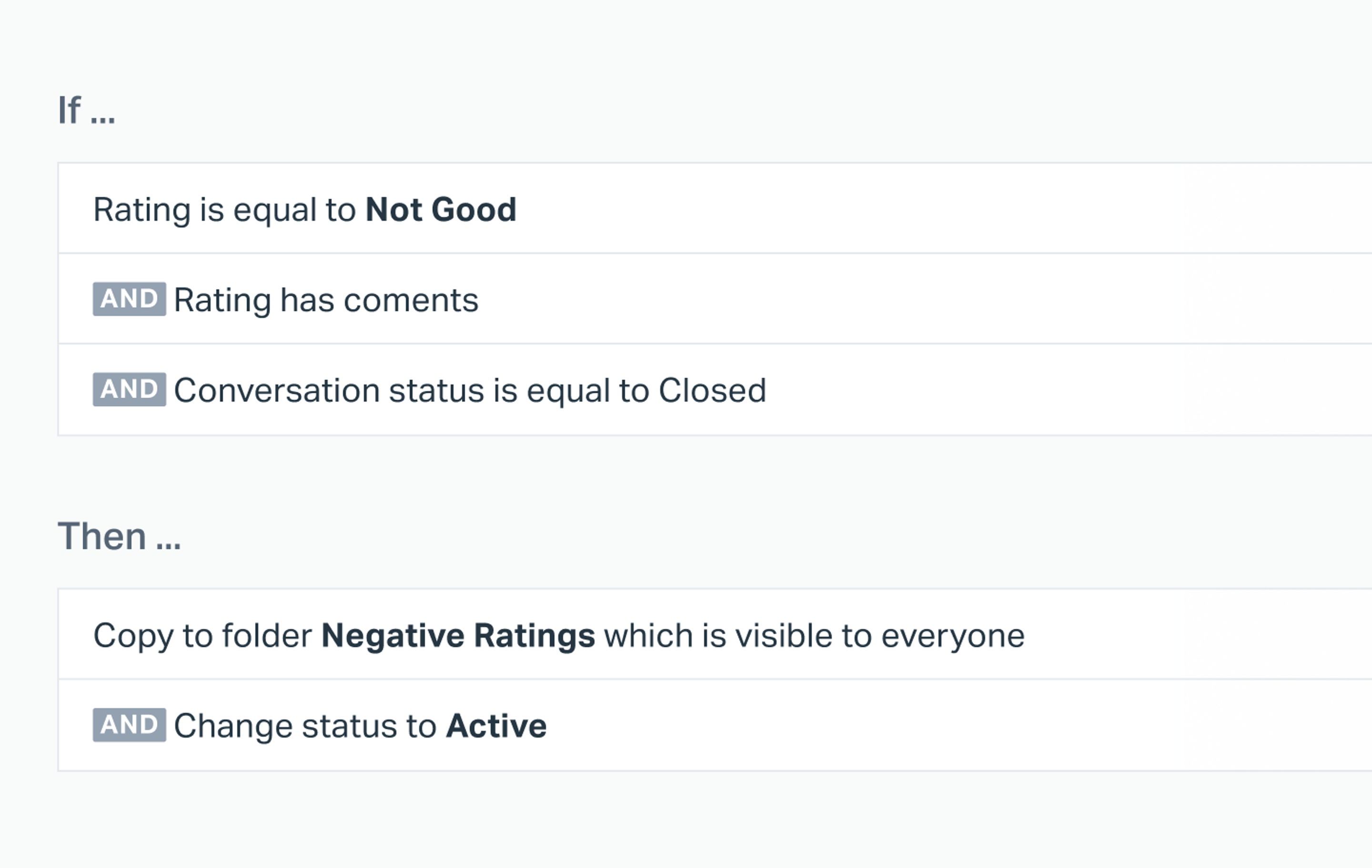 negative comment workflow in help scout