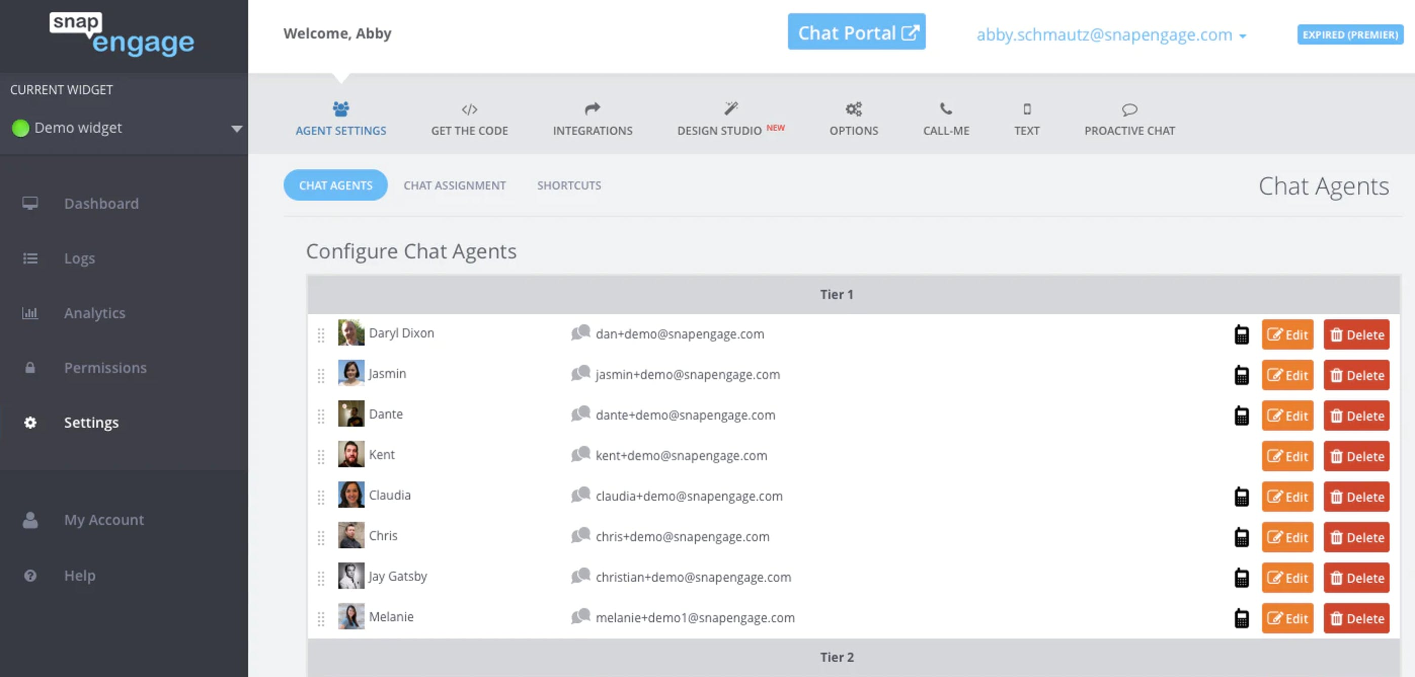 screenshot of snapengage's chat agent configuration screen