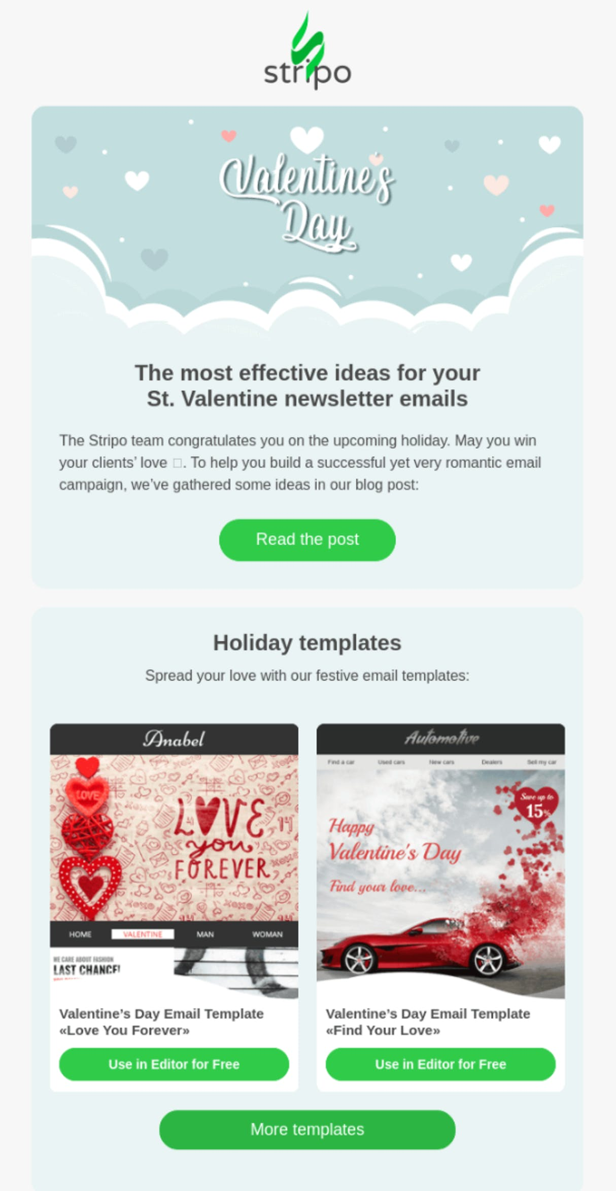 example valentine's day email from stripo