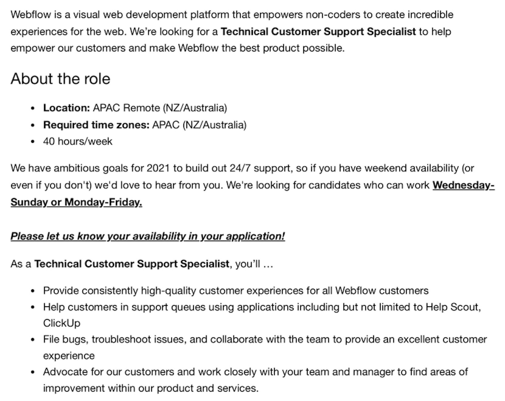 monday tier 2 support job description