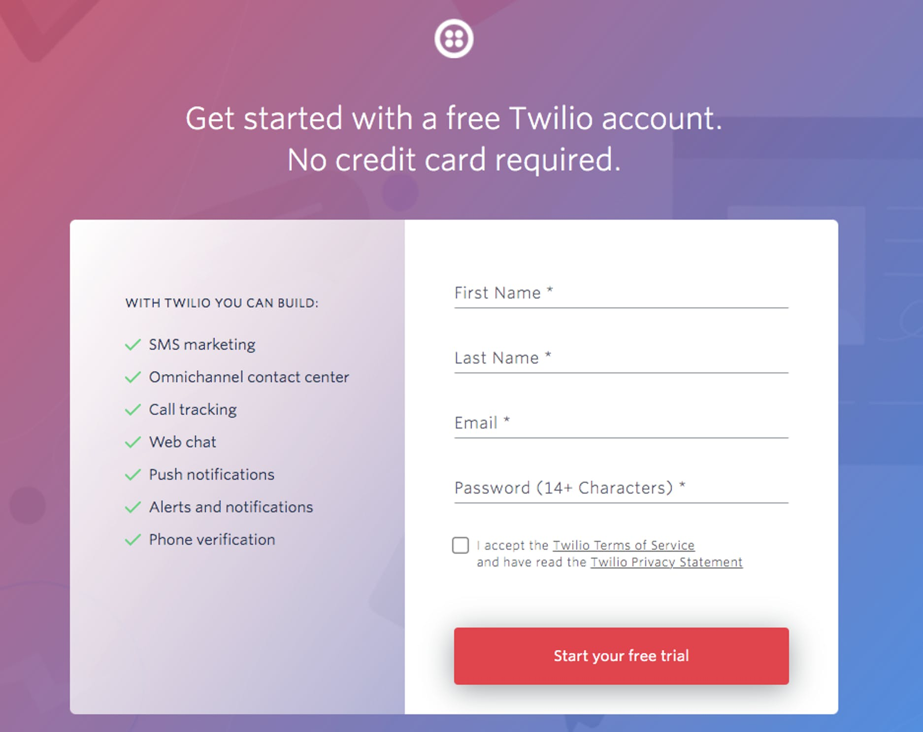 Twilio's sign-up page