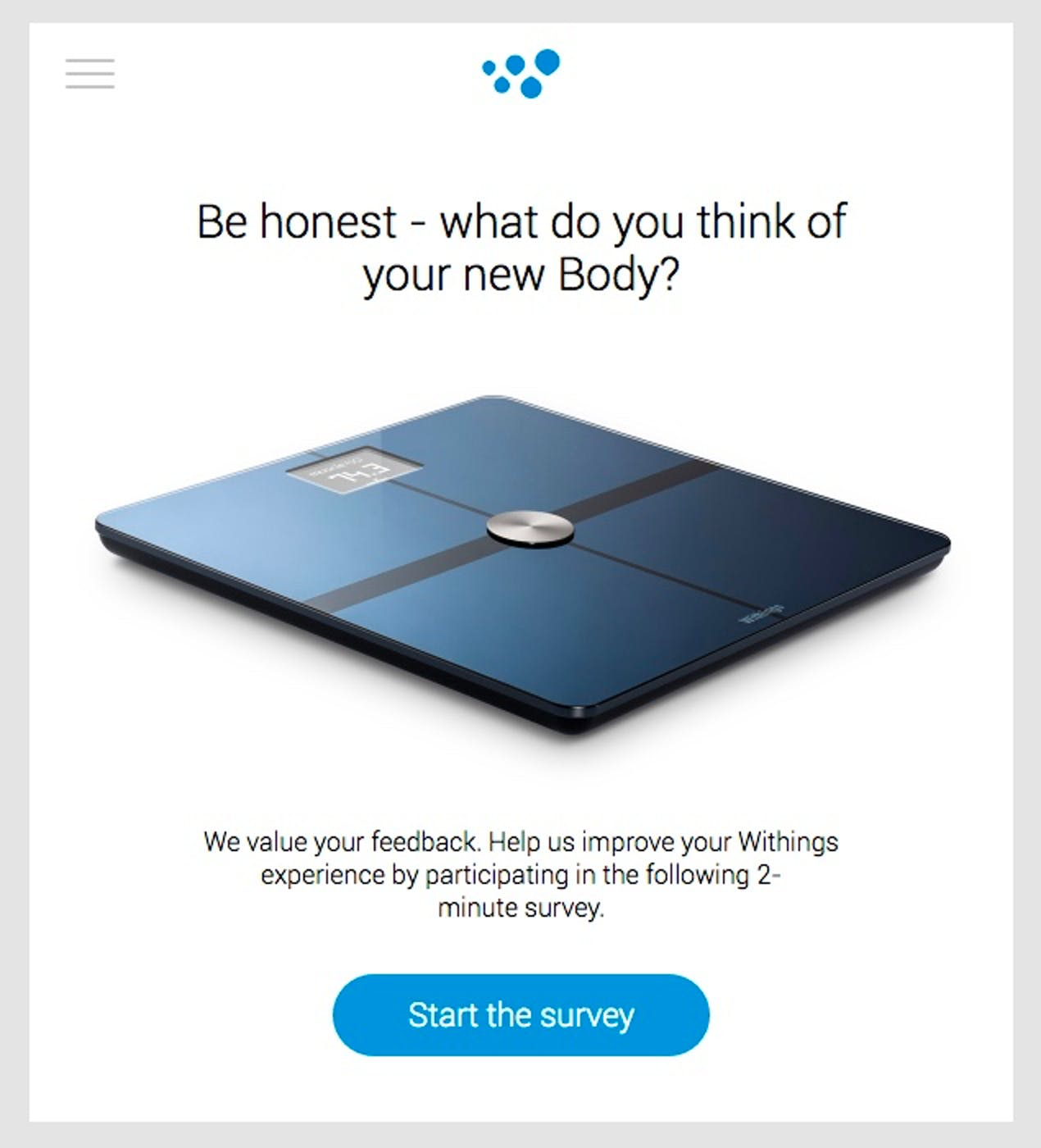 withings customer survey example