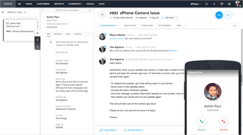 screenshot of zoho desk's customer service software